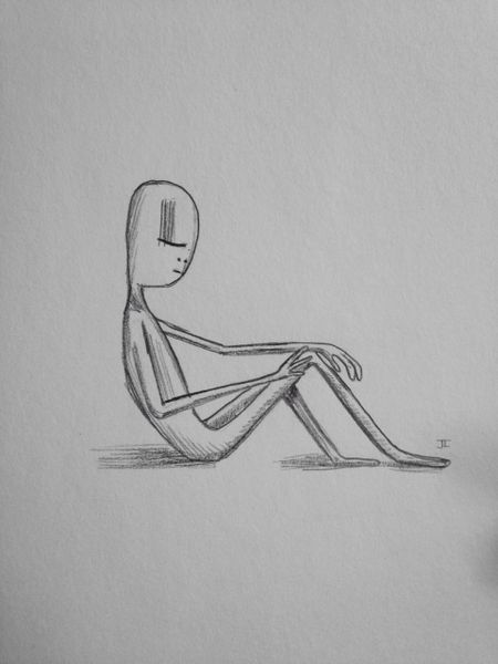 "Sitting figure 9x6"" graphite drawing"