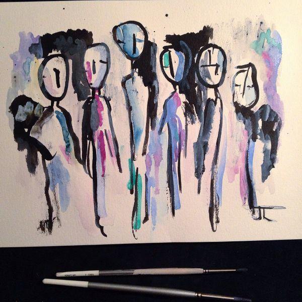 "People ink and watercolor 9x12"" original"