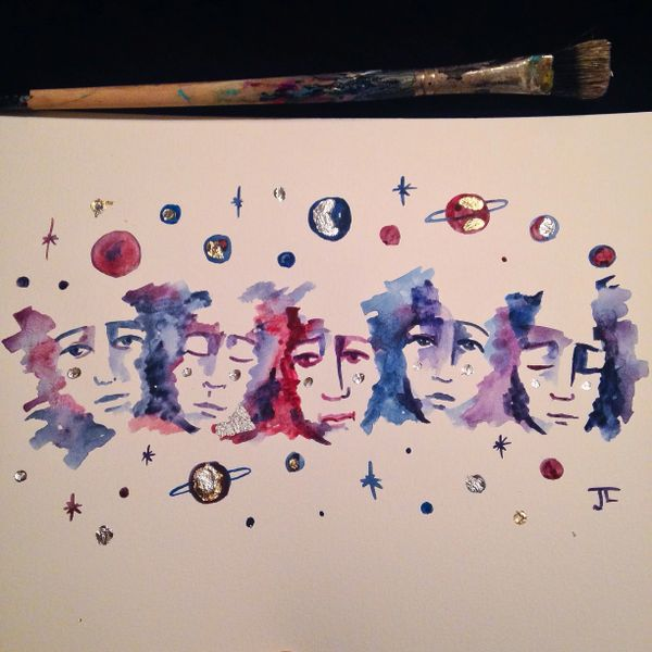"Star faces 9x12"" original painting"