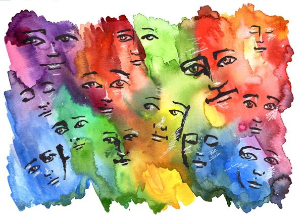 "SOLD ""With Love"" Colorful faces 11x15"" paper original watercolor"