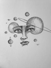 "Cosmic Face 6x9"" Paper Original Graphite Drawing"
