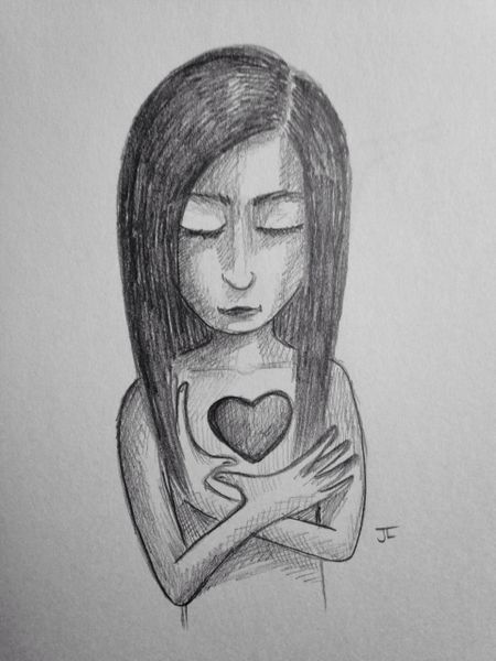 """Heart girl 9x6"""" graphite drawing"""
