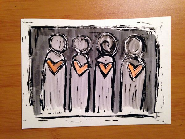 """4.5 x 6"""" Original Heart People Linocut Gray and Coral"""
