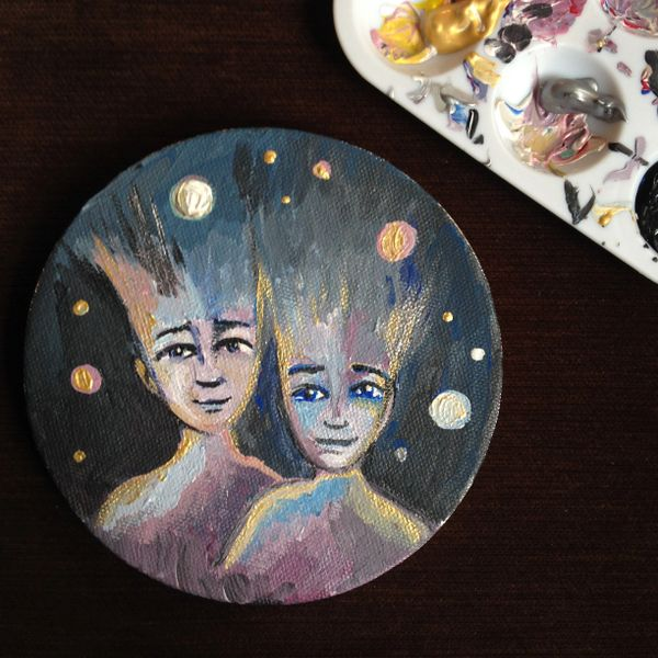 """SOLD Space Couple 5"""" circle acrylic on canvas"""