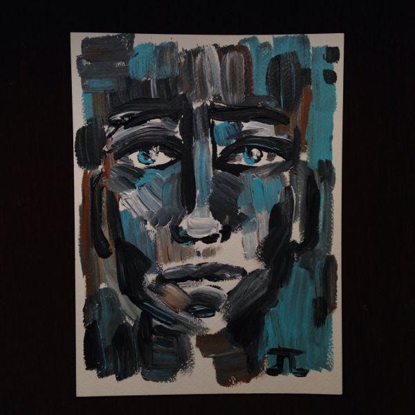 """Acrylic paint textured face 9x12"""""""