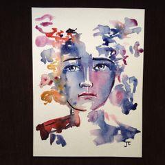 """9x12"""" watercolor infinite face"""