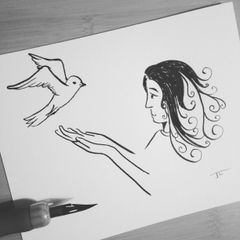 "Peace Dove Ink Mini 4x6"" Original"