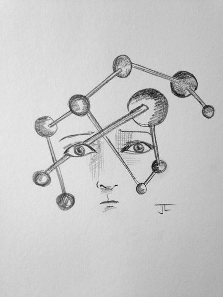 "Atomic Face 6x9"" Paper Original Graphite Drawing"