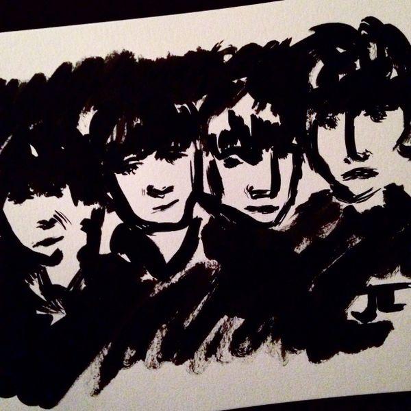 "Beatles 9x12"" India ink"