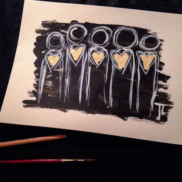 "Gold heart people 9x12"" original India ink and watercolor with gold leaf"