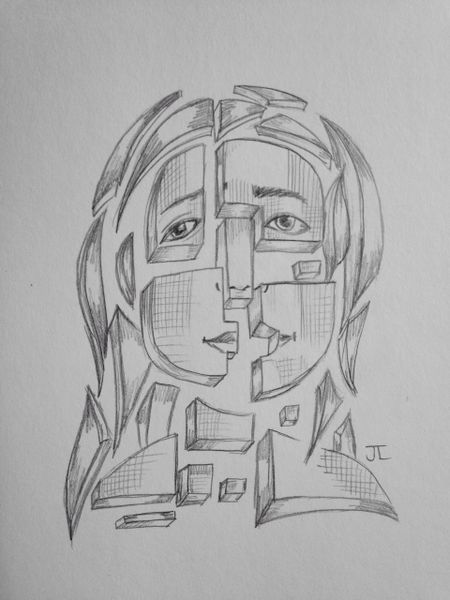 """Pieces 9x6"""" graphite drawing"""
