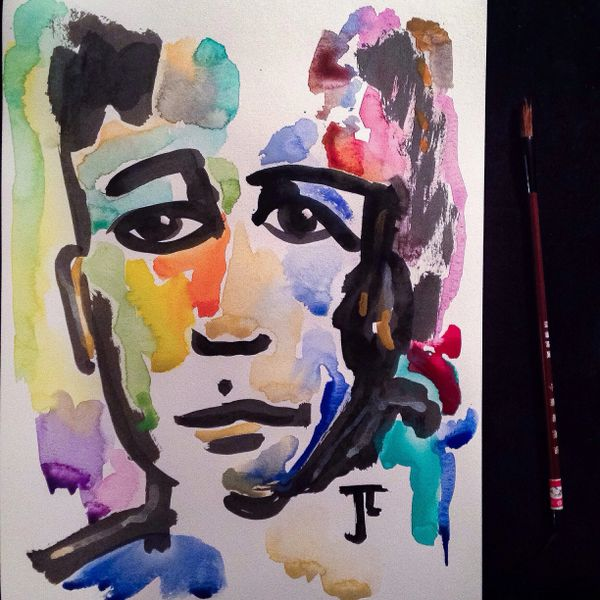 """Colorful Face 11x15"""" Watercolor and India Ink"""