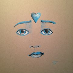 "Heart Face 8"" Square on Tan Paper Original"