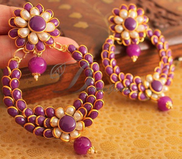 Beautiful Purple Big Bali Pachi Earrings Dj12891 Dreamjwell