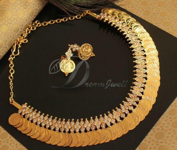 95207f9cce BEAUTIFUL GOLD PLATED LAKSHMI COIN DESIGNER NECKLACE SET DJ19997 |  DREAMJWELL