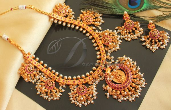c363bc3a9 BEAUTIFUL MATTE FINISH RUBY PEARL LAKSHMI DESIGNER NECKLACE SET DJ24879 |  DREAMJWELL