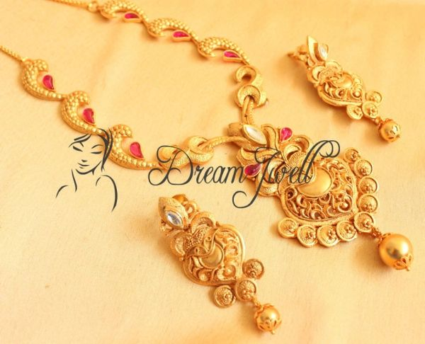 One gm gold necklace set with uncut semi precious stones dj00090 one gm gold necklace set with uncut semi precious stones dj00090 mozeypictures Image collections