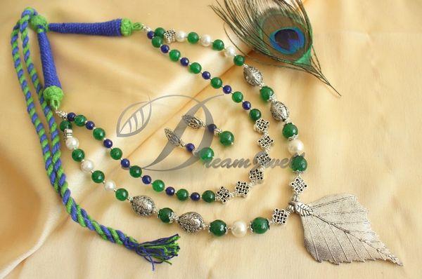 7500ab24b3 BEAUTIFUL SILVER COLOR PRNDANT GREEN-BLUE AGATES DOUBLE LAYER ...