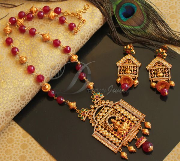 24fde357f BEAUTIFUL MATTE FINISH RUBY-EMERALD LAKSHMI DESIGNER NECKLACE SET DJ19973 |  DREAMJWELL