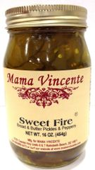 """Mama Vincente Sweet Fire Bread & Butter Pickles & Peppers - (Two """"2"""" Pack Of 12 Oz. Bottles)"""