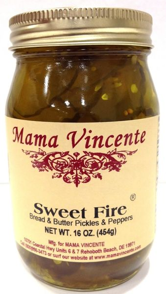 "Mama Vincente Sweet Fire Bread & Butter Pickles & Peppers - (Two ""2"" Pack Of 12 Oz. Bottles)"