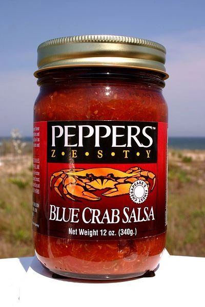 """Peppers Blue Crab Zesty Salsa - (Three """"3"""" Pack Of 12 Oz. Bottles)"""