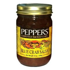 """Peppers Blue Crab Chipotle Smoked Corn Salsa - (Three """"3"""" Pack Of 12 Oz. Bottles)"""
