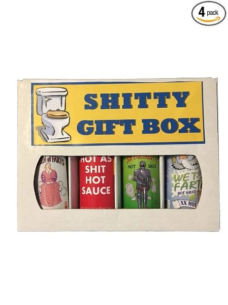 Shitty Gift Box. Funny (4 Pack Hot Sauce Gift Set)