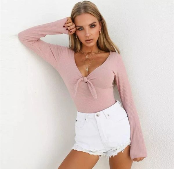42c7953e7a Long Sleeved Tie Up Front Bodysuits