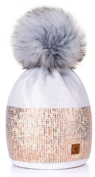 White Sequin Pom Pom Hat    b10e7137579