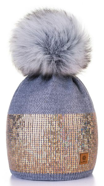 Dark Grey   Gold Sequin Pom Pom Hat    aaa64f18a15
