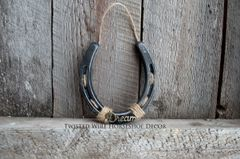 Lucky Horseshoe- black horseshoe with words