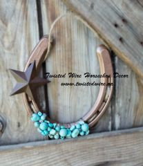 Lucky Horseshoe- Horseshoe With Star and Turquoise Beads