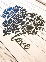 Love sign with leaf heart