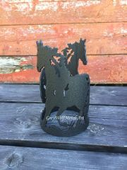Two Running Horses- Candle Holder