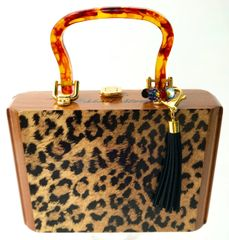 Bespoke Purse: Trapezoid Short Story Leopard, faux tortoise small, handle signed #1801