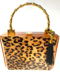 Bespoke Purse: Trapezoid Short Story Leopard Faux Brass Bamboo Swing Handle signed #1804