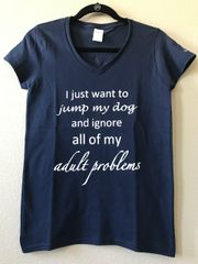 Jump My Dog V-Neck Tee (Ladies)