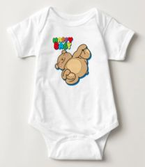 "Yoga Teddy Bear ""Happy Baby"" Baby Bodysuit"