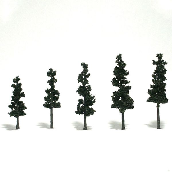 "Woodland Scenics 2.5-4"" Conifer Green Premium Trees 5/Pk"
