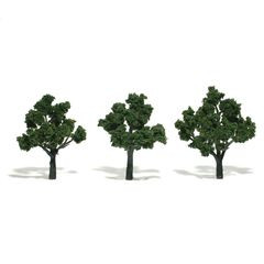 "Woodland Scenics 3-4"" Medium Green Premium Trees 3/Pk"