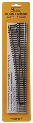 Ho Scale Micro Engineering #6 Code 70 Left Turnout