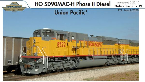 Athearn Genesis 2.0 Ho Scale SD90MAC-H Union Pacific DCC & Sound *Reservation*