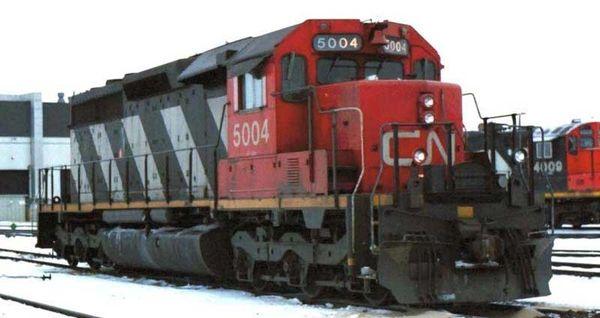 Bowser Ho Scale SD40 CN Stripes, W/ Dynamic Brake, Snow Shields, Ditchlights, Single Class Light DCC Ready *Pre-order*