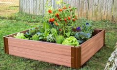 """Frame It All Raised Garden Bed 4' x 4' x 11"""" – 1"""" profile- Classic Sienna"""