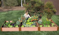 "Frame It All Composite Raised Bed Garden - 4'x12'x11"" (2 inch profile)"