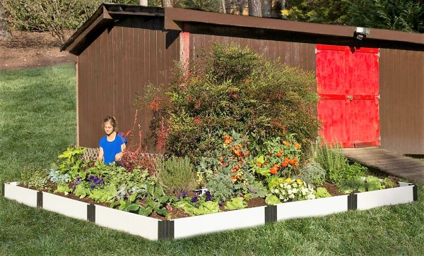 """Frame-It-All Raised Garden Bed \'L\' Shaped 12\' x 12\' x 8"""" - Classi ..."""