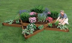 Frame It All Composite Raised Garden 12ft. X 12ft. X 11in. Garden Star (2 inch profile) - Classic Sienna