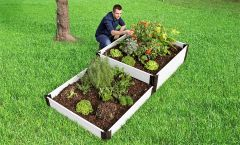 """Frame It All Raised Garden Bed Terraced 4' x 8' x 16"""" - Classic White"""