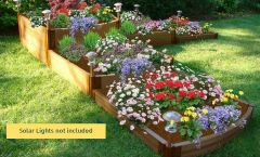 "Frame It All Raised Garden Bed Split Waterfall Tri-Level 12' x 12' x 22"" – 1"" profile - Classic Sienna"